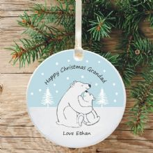 Ceramic Grandad Keepsake Christmas Decoration - Polar Bear Design